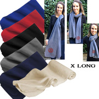 Monogrammed X LONG Fleece Scarf  -  FREE SHIP