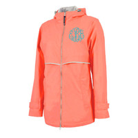 CLOSEOUT -Monogrammed Wind & Waterproof Ladies' New Englander Rain Jacket - 1 or 2 Monograms - BRIGHT CORAL - SIZE LARGE  - FREE SHIP
