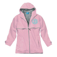Monogrammed Wind & Waterproof Ladies' New Englander Rain Jacket - 1 or 2 Monograms - PINK - SIZE LARGE   - FREE SHIP