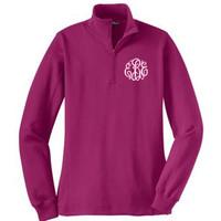 Monogrammed Ladies' Quarter Zip Pullover Sweatshirt - PINK RUSH - SIZE SMALL