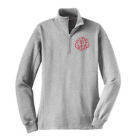 Monogrammed Ladies' Quarter Zip Pullover Sweatshirt -LIGHT GRAY - SIZE  X SMALL