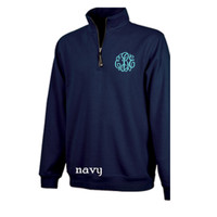 CLOSEOUT - Monogrammed ADULT SIZED Quarter- Zip Relaxed Sweatshirt - NAVY - SIZE XSMALL - FREE SHIP