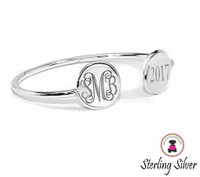 BROOKE Sterling Silver Custom Engraved Double Disc Bangle Bracelet - FREE SHIP