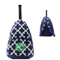 Monogrammed Tennis Bag / Backpack -  Bristol Tile  -Navy / White - FREE SHIP
