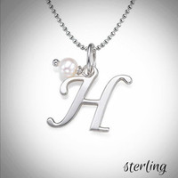 MY INITIAL & PEARL NECKLACE - Sterling   - FREE SHIP