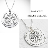FAMILY TREE Necklace - Sterling   - FREE SHIP