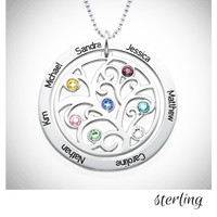 FAMILY TREE & BIRTHSTONES Necklace - Sterling   - FREE SHIP