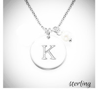 INITIAL DISC & PEARL NECKLACE - Sterling   - FREE SHIP