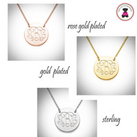 Monogrammed  Disc Necklace  - 3 Finish Options -  FREE SHIP