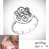 VICTORIA  Monogrammed Sterling Round Signet Ring - Sizes 4 - 14 - FREE SHIP