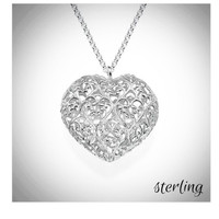 Filigree Sterling Heart Necklace  - FREE SHIP