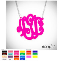 LOLA  -Monogrammed  Acrylic SOLID Necklace- FANCY SCRIPT - FREE SHIP