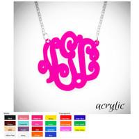 LOLA  -Monogrammed  Acrylic SOLID Necklace- FANCY SCRIPT - FREE SHIP