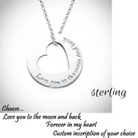 Customized Inscription Heart Necklace - Sterling  - FREE SHIP