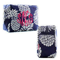 Monogrammed Large Cosmetic Case - Palm Beach Pineapple - Navy & White - FREE SHIP