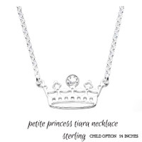 For the Young Girl / Flower Girl - Sterling Petite Princess Tiara  Necklace  - FREE SHIP
