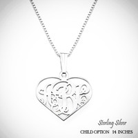 For the Young Girl / Flower Girl - BIANCA Petite Heart Monogram Necklace in Sterling Silver - FREE SHIP