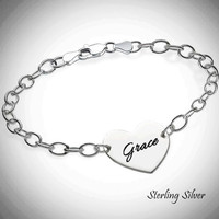 LILLIANA - Sterling Link Bracelet with Engraved Heart Disc - FREE SHIP