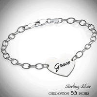 For the Young Girl / Flower Girl - LILLIANA - Sterling Link Bracelet with Engraved Heart Disc - FREE SHIP