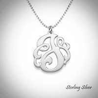 "SO FANCY  Single Initial Necklace - Monogrammed Sterling Necklace  - 1"" Pendant - FREE SHIP"