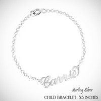 For the Young Girl / Flower Girl - NAME IN SCRIPT Sterling Link Bracelet  - FREE SHIP