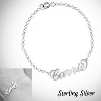 NAME IN SCRIPT Sterling Link Bracelet  - FREE SHIP