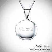 For the Young Girl / Flower Girl - CIRCLE LOCKET Engraved Necklace in Sterling Silver - FREE SHIP