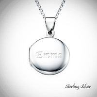 CIRCLE LOCKET Engraved Necklace in Sterling Silver - FREE SHIP