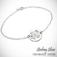 For the Young Girl / Flower Girl - LARA  - Sterling Link Bracelet with Monogrammed Disc - FREE SHIP