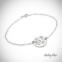 LARA  - Sterling Link Bracelet with Monogrammed Disc - FREE SHIP