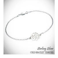 For the Young Girl / Flower Girl - SO FANCY  - Sterling Link Bracelet with Petite Cut Out Monogram - FREE SHIP