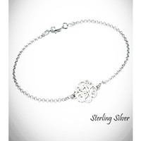 SO FANCY  - Sterling Link Bracelet with Petite Cut Out Monogram - FREE SHIP