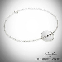 For the Young Girl / Flower Girl - Sterling Link Bracelet with Engraved NAME DISC - FREE SHIP
