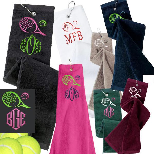 monogrammed tennis velour towel - racquet    ball    monogram- free ship