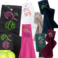 Monogrammed Tennis Velour Towel  - Racquet / Ball / Monogram-  FREE SHIP