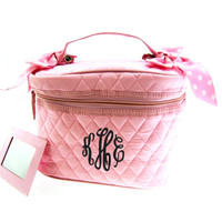 Monogrammed Quilted Cosmetic Train Case - Pink with Pink/White Dot Ribbon - FREE SHIP