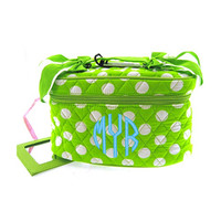 Monogrammed Quilted Cosmetic Train Case - Lime and White Polka Dot - FREE SHIP