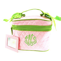Monogrammed Quilted Cosmetic Train Case - Pink with Lime / White Dot Ribbon - FREE SHIP