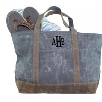 Monogrammed Large Waxed Canvas Deluxe Boat Tote - Slate - FREE SHIP
