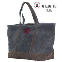 FOR HIM Monogrammed Large Waxed Canvas Deluxe Boat Tote - Slate - FREE SHIP