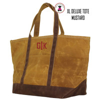 FOR HIM Monogrammed Large Waxed Canvas Deluxe Boat Tote - Mustard Yellow  - FREE SHIP