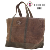 FOR HIM Monogrammed Large Waxed Canvas Deluxe Boat Tote - Kakhi  - FREE SHIP