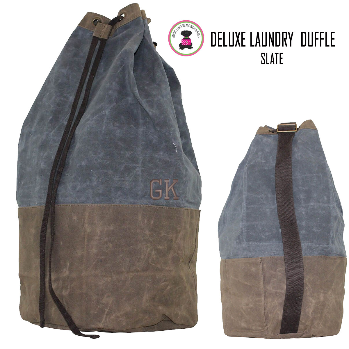 1f53270314fb ... Monogrammed Waxed Canvas Deluxe Laundry Duffel - Slate - FREE SHIP-Groomsmen  Gift Father s Day Gift Grad Gift Gift for Him Group Discount. Image 1