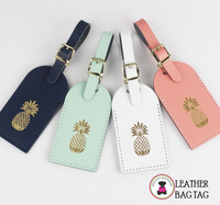Leather Luggage Tags - Palm Beach Pineapple  - FREE SHIP