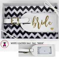"ONE Leather Luggage Tag - ""Bride""   - FREE SHIP  /Bride Gift  /Bridal Shower Gift / Engagement Gift / Bride to Be Gift"