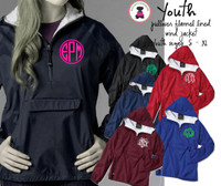 YOUTH  Monogrammed Flannel Lined, YOUTH Pullover Wind Jacket - 1 or 2 Monograms - FREE SHIP