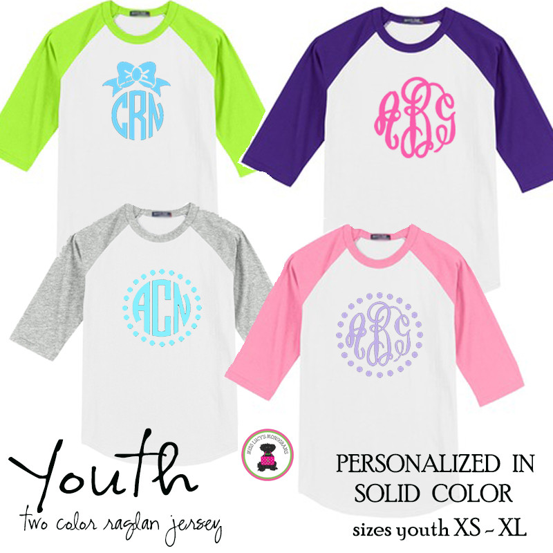 YOUTH Monogrammed Two Tone Raglan Sleeve T Shirt