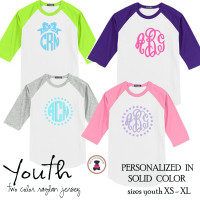 YOUTH  Monogrammed Two Tone Raglan Sleeve T Shirt - Solid XL Monogram -FREE SHIP/Flower Girl Gift/Youth T Shirt/ Team T Shirt/Wedding / Gift for Young Girl