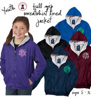 YOUTH  Monogrammed Flannel Lined, YOUTH Full Zip  - 1 or 2 Monograms - FREE SHIP