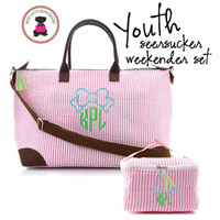 Monogrammed  Weekender 2 Piece Travel Set - Pink/White Seersucker - FREE SHIP